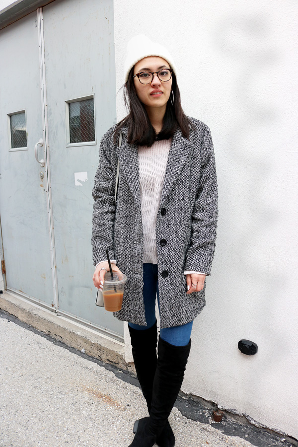 Grey Coat Blush Pink Sweater Over the Knee Boots Jeans