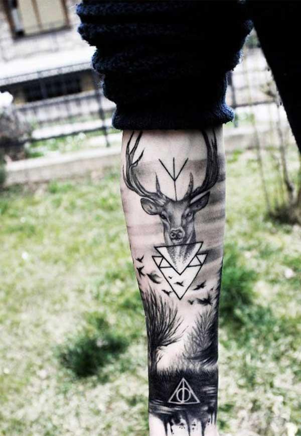 geyik portresi bacak dövmesi