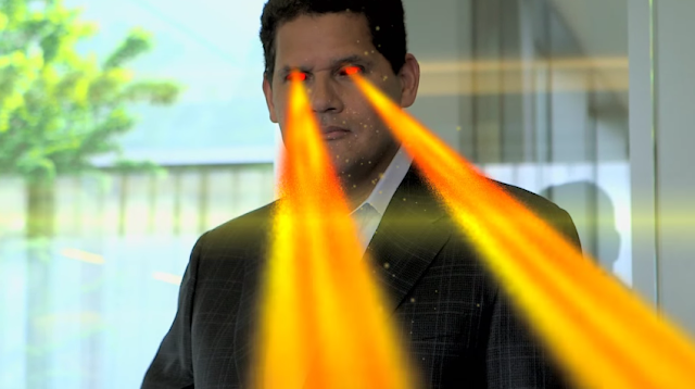 Reggie Fils-Aime Fils-a-mech laser eyes beams heat fire Nintendo robot mecha