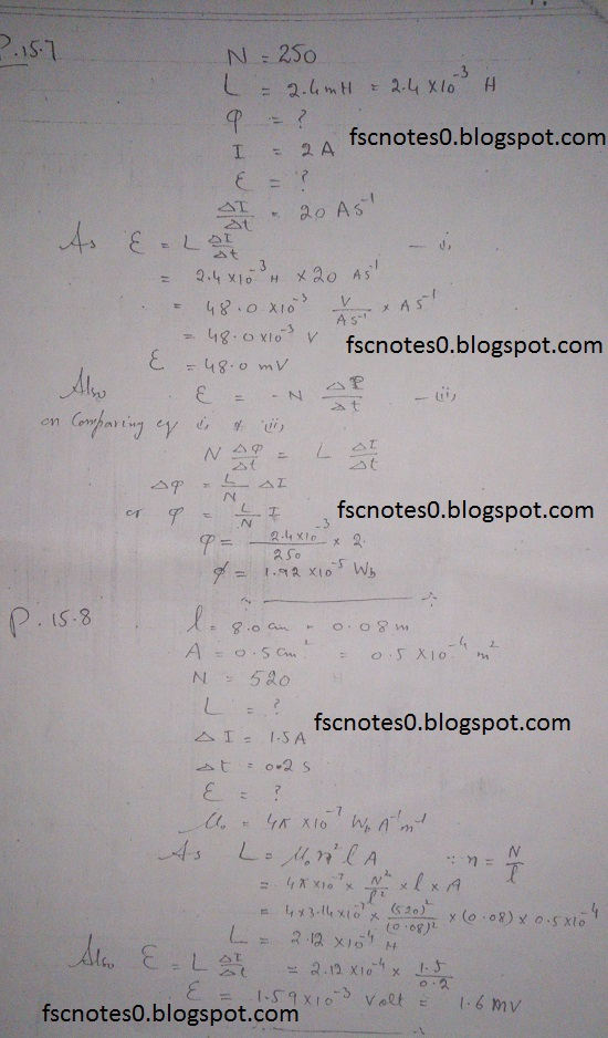 F.Sc ICS Notes: Physics XII: Chapter 15 Electromagnetic Induction Numerical Problems Asad Hussain 3