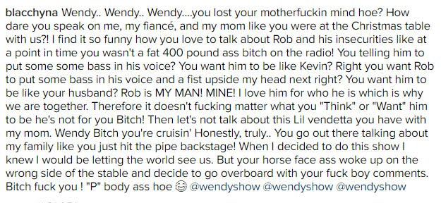 Blac Chyna rips into Wendy Williams over Rob Kardashian comments