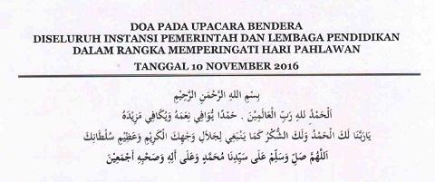 Doa Pada Upacara Bendera Peringatan Hari Pahlawan 10 November 2016