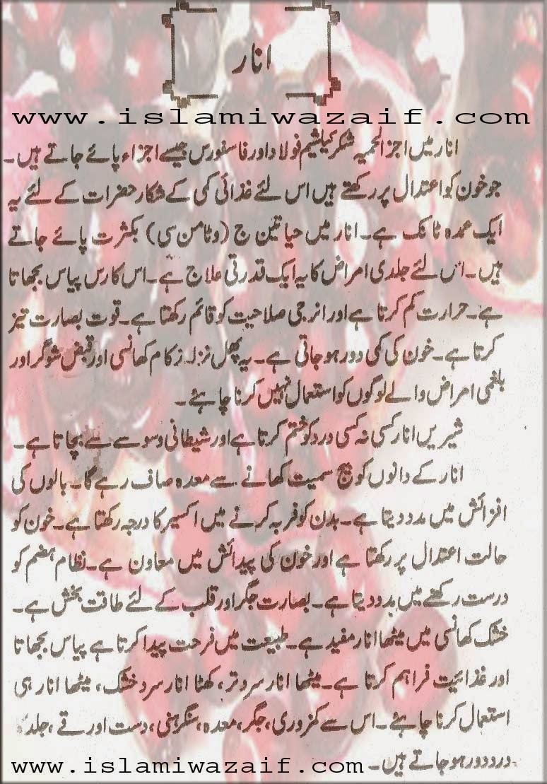 anar k fawaid in urdu