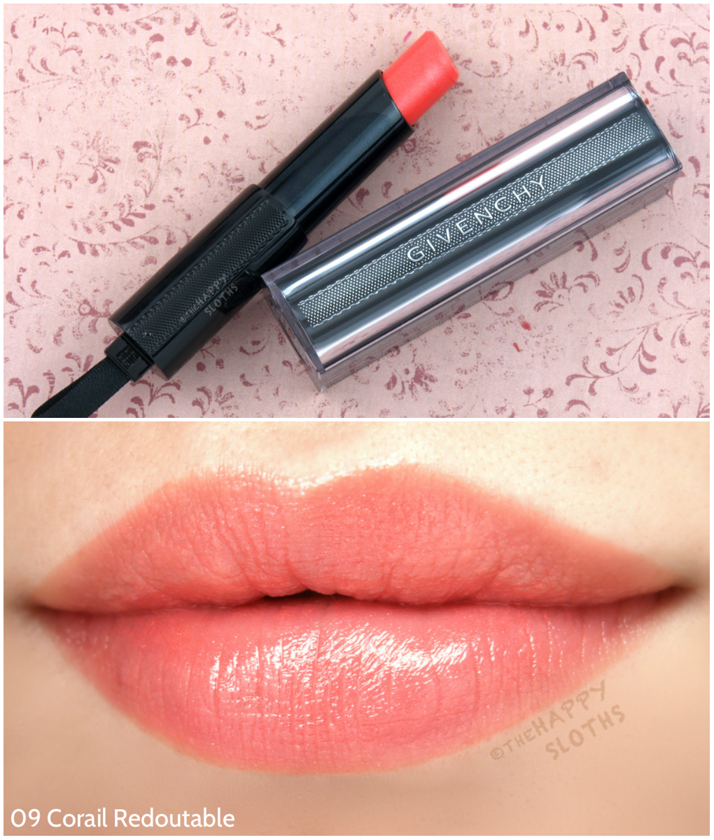 Givenchy Rouge Interdit Vinyl Color Enhancing Lipstick 09 Corail Redoutable Review and Swatches