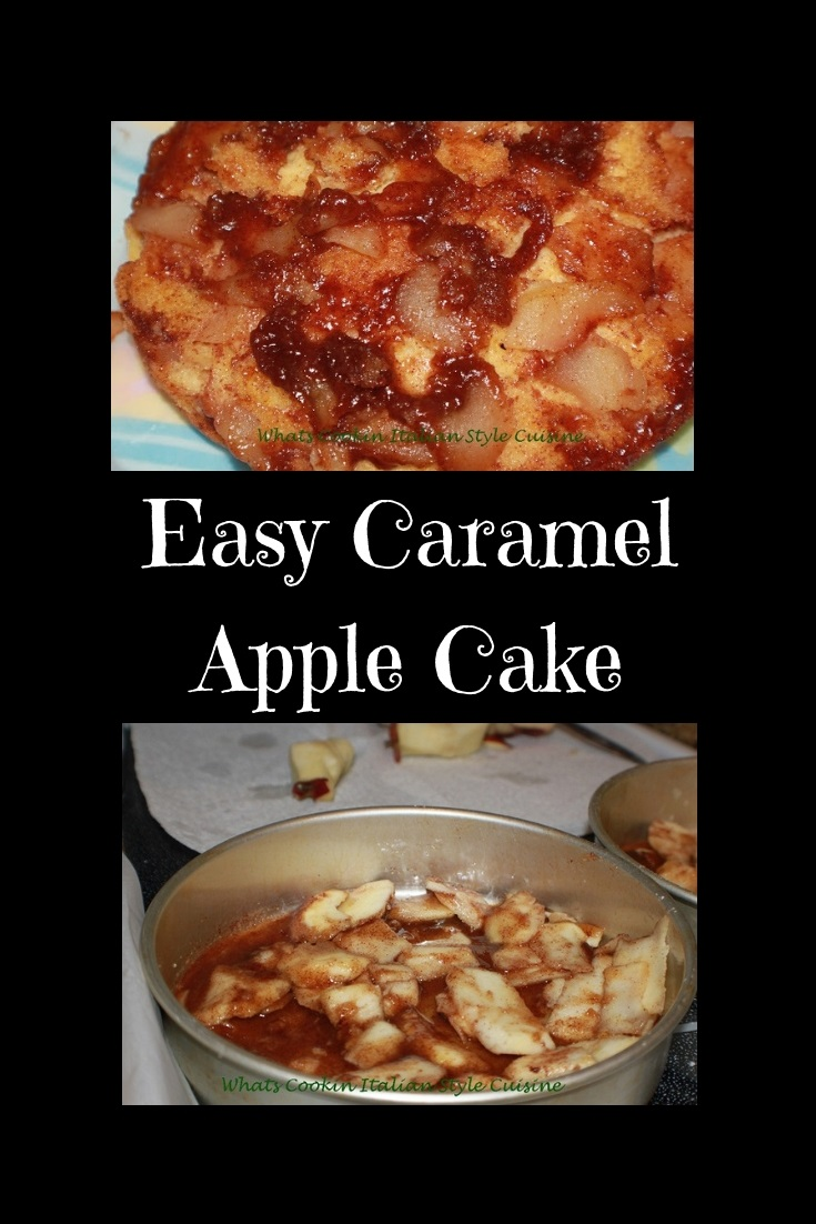 This is a semi homemade caramel apple cake in round cake pan with the sugar and apples ready to bake. The cake has caramel on the bottom made baked in the pan with fresh apple slices and the cake is baked on top of the apple caramel syrup. It is on a plate that the caramel while hot is dripping onto the cake.