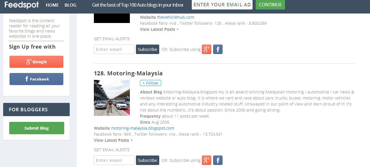 Motoring-Malaysia: We Are On A Top 200 Auto Blog List - One of Two