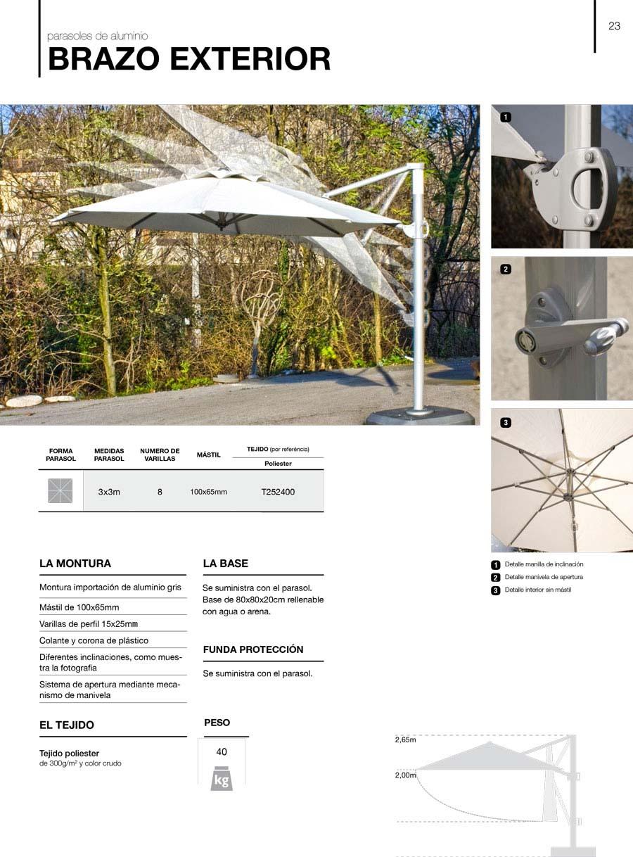 características parasoles aluminio brazo exterior