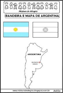 Bandeira e mapa da Argentina