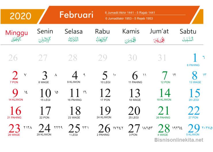 kalender 2020 februari