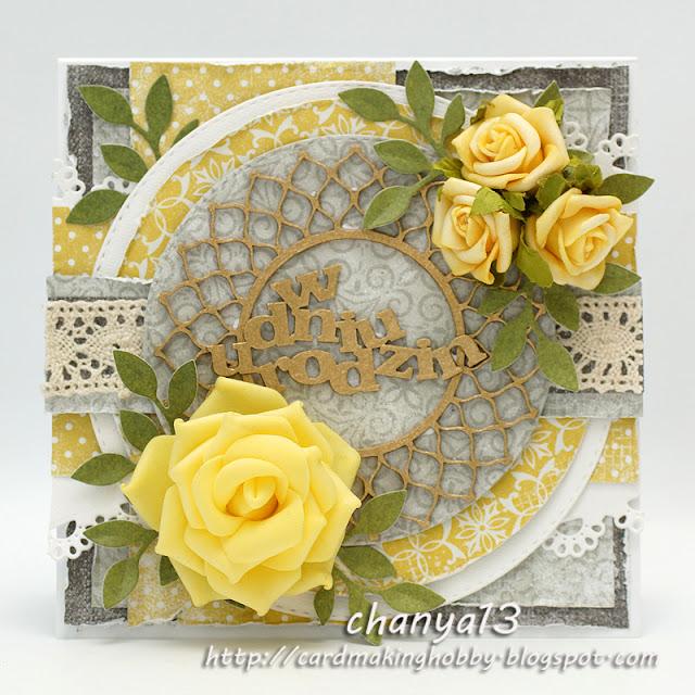 338. Kartka urodzinowa z żółtymi różami