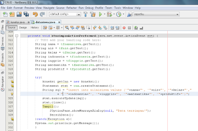 menulis kode program pada button simpan, belajar memasukan data pada java dengan netbeans