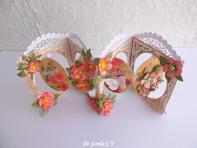 Birthday Handmade Accordion 3D Greeting Card with  Lacy Die Cuts and Ribbons