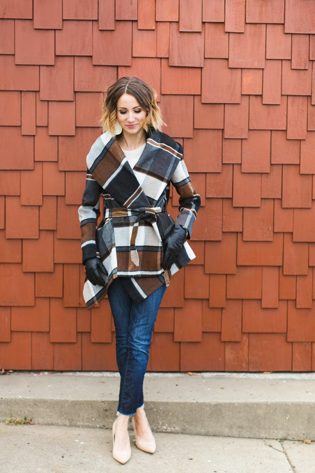 Plaid statement coat, dark denim, nude heels
