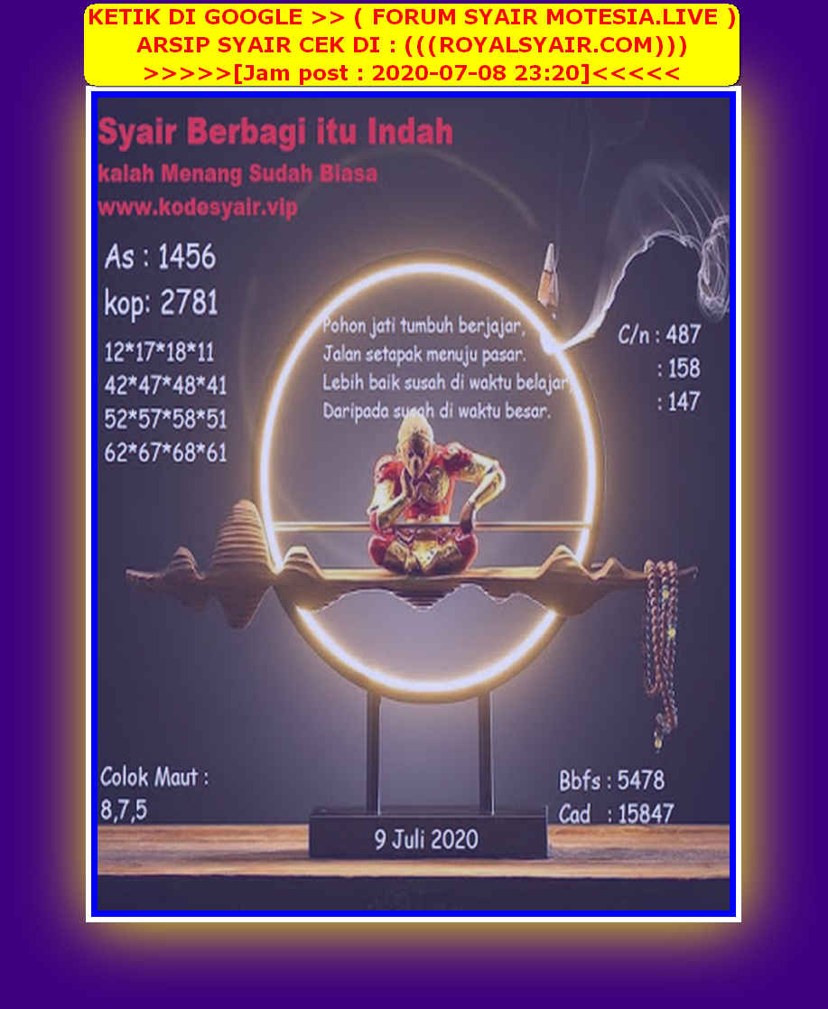 Kode syair Singapore Kamis 9 Juli 2020 231