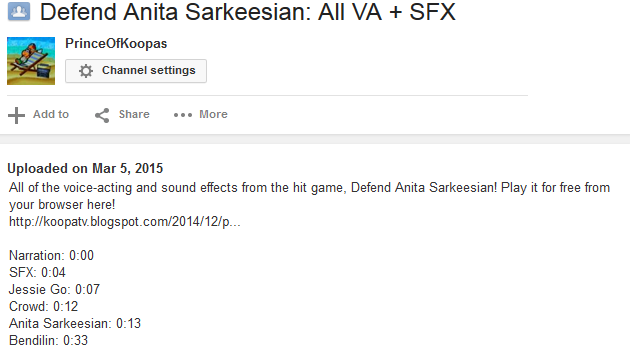 Defend Anita Sarkeesian voice-acting sound effects Bendilin VA