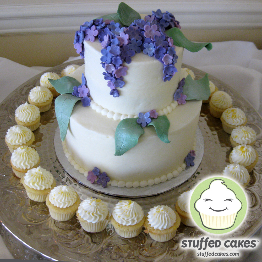 Stuffed Cakes Lilac Tiered Cake And Cupcakes