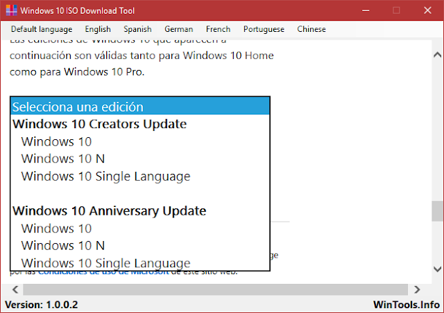 Windows 10 ISO Download Tool 1.0.0.3 | Descargar las ISO de Windows 10