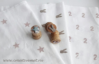 Салфетки из ткани с рисунком-штампом