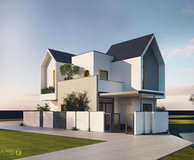 Biệt thự được thiết kế với các hình khối ngẫu hứng