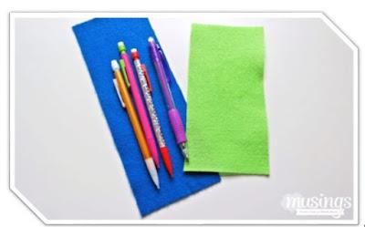 Cara Membuat Tempat Pensil Kain Flanel dengan Kancing Baju