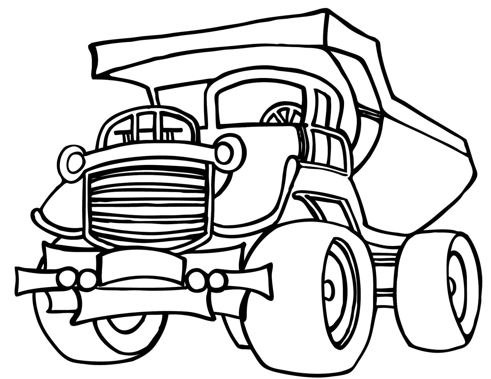 Page de coloriage grand format  imprimer un camion pour les travaux