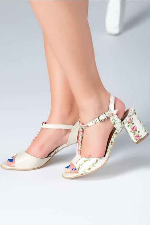Sandale piele naturala cu toc gros ivory cu bareta si motive florale