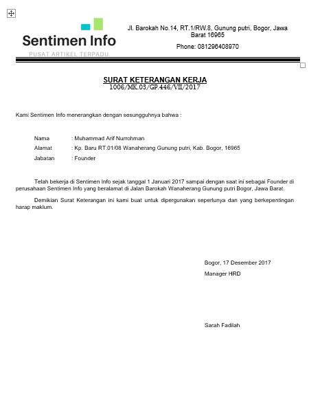 Surat Keterangan Kerja Sentimen Info