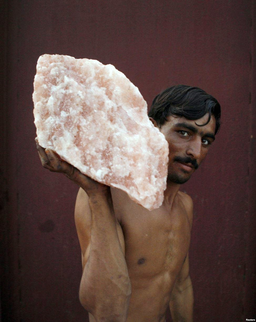 Pink Salt (often mined in Pakistan) A laborer, carrying rock salt 5 Best Places To Discover In Pakistan