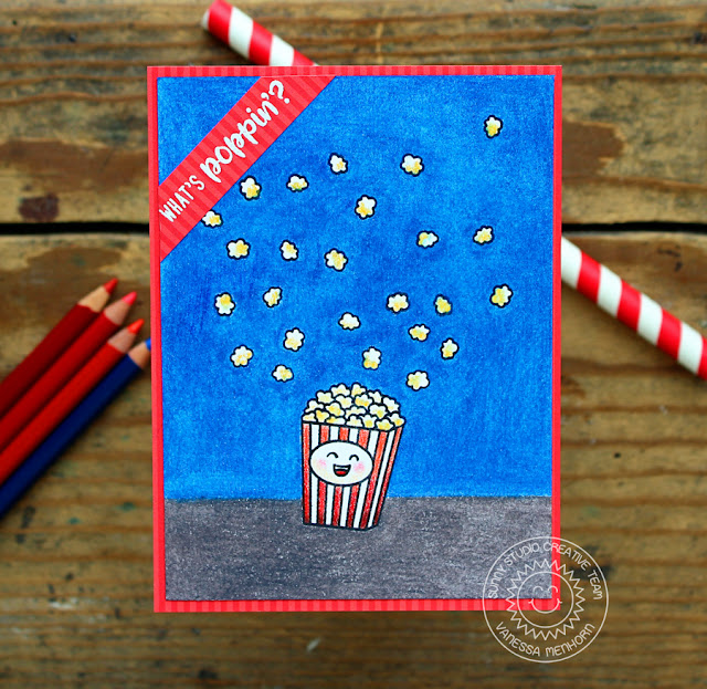 Sunny Studio Stamps: Fast Food Fun Happy Popcorn Bucket Colored Pencil Card  By Vanessa Menhorn