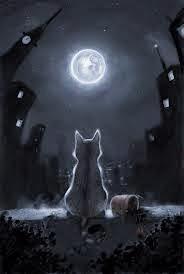 POEMAS SIDERALES ( Sol, Luna, Estrellas, Tierra, Naturaleza, Galaxias...) - Página 23 O+Gato+e+a+Lua