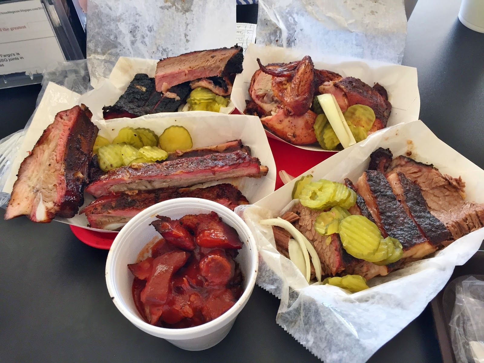 Fargo's brisket, ribs, chicken and rib tips.