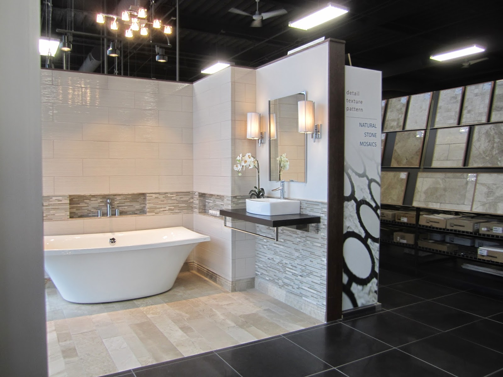 Vignettes Placed In The Front And Inside Of Showroom With Boards Around Outside Design Center Doubles As A Cash Wrap