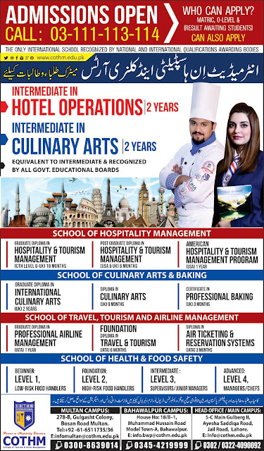Admissions: Intermediate Hotel Operations & Culinary Arts in COTHM