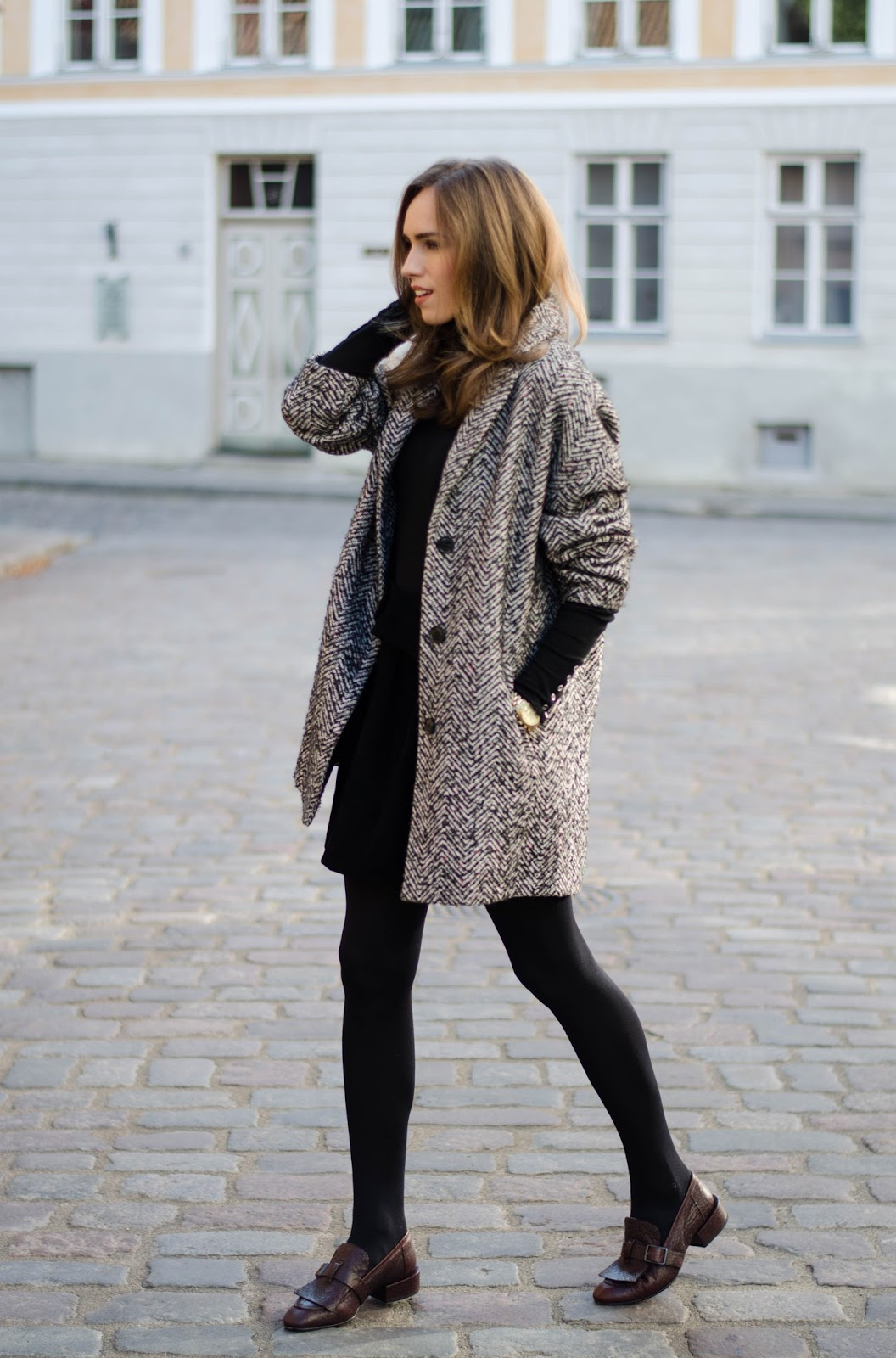 houndstooth coat outfit
