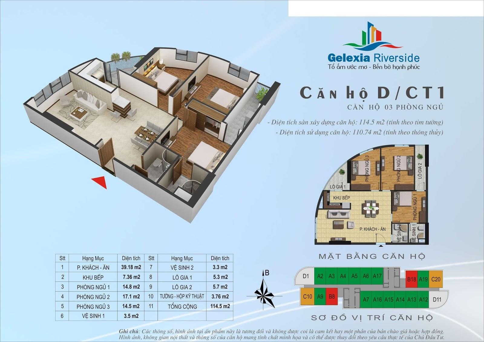 Mặt bằng căn hộ 114,5 m2 tòa CT1 - Gelexia Riverside