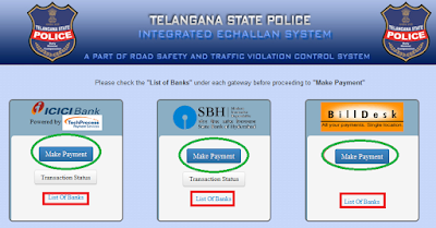 Step3: Pay Traffic E-Challan Online