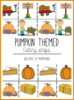 Pumpkin themed cutting strips by Welcome to Mommyhood #montessori, #freeprintables, #preschoolactivities