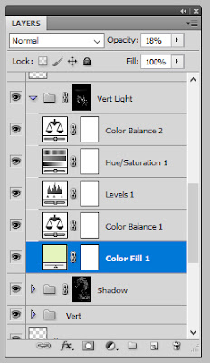 Nathan Fowkes' layers that make up a Light Group in Photoshop.