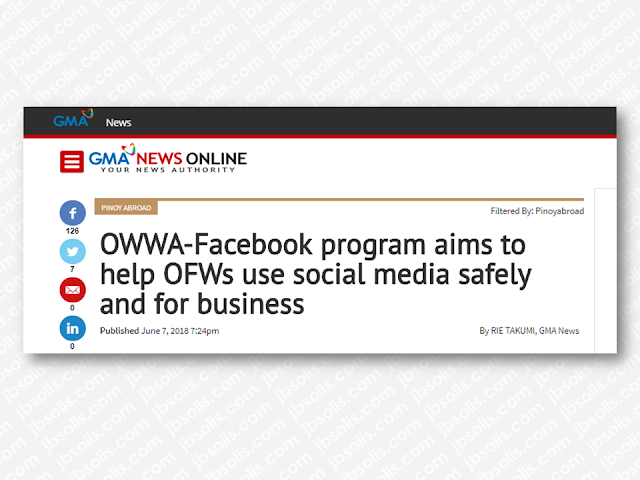 """A partnership between the Overseas Workers Welfare Administration (OWWA) and social media titan Facebook will educate overseas Filipino workers (OFWs) on how they may build businesses and ensure their safety online.  An initial target of 1,500 OFWs trained prior to their departure has been set for the project's launch starting on July until the end of the year. Facebook and OWWA will determine the mapping of the trainees after their trial run ends.  Most OFWs have access to the internet and social media as they use it to communicate with their loved ones back in the Philippines. They also rely on the pieces of information they get mostly from social media sites.  Advertisement         Sponsored Links     Overseas Workers Welfare Administration (OWWA) together with social media platform Facebook as joined together to help equip overseas Filipino workers on how to start a business and how to remain safe on the Internet.   OWWA and Facebook Philippines have officially become allies during Migrant Worker's Day to urge OFWs to join them on their digital marketing workshop maximize the use of social media to start and grow their small businesses. They are building a program which aims to enhance the digital literacy among OFWs before their deployment abroad by helping them understand primarily about their safety, identify fraud and determine fake news.   """"It's valuable to us in terms of making our OFWs and families better equipped to combat bullying, to identify fake news, and make their own value judgement or otherwise in terms of empathizing or working on any kind of information they receive through Facebook,"""" paliwanag ni OWWA Administrator Hans Leo Cacdac.  """"It's valuable to us in terms of making our OFWs and families better equipped to combat bullying, to identify fake news, and make their own value judgment or otherwise in terms of empathizing or working on any kind of information they receive through Facebook,"""" OWWA Administrator Hans Leo Cacdac said.   """"Some peopl"""