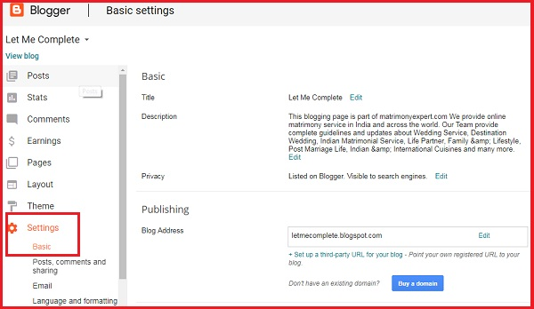 How to Set your own URL in Blogger Account - Easy and Quickly