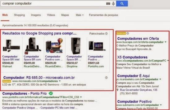 Resultado da pesquisa no Google tráfego pago e orgânico