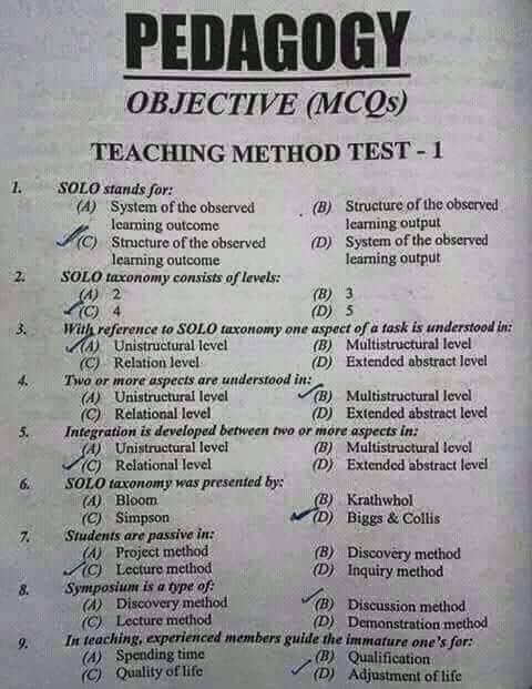 STUDY TIME LEARNING: MOST IMPORTANT PEDAGOGY MCQs