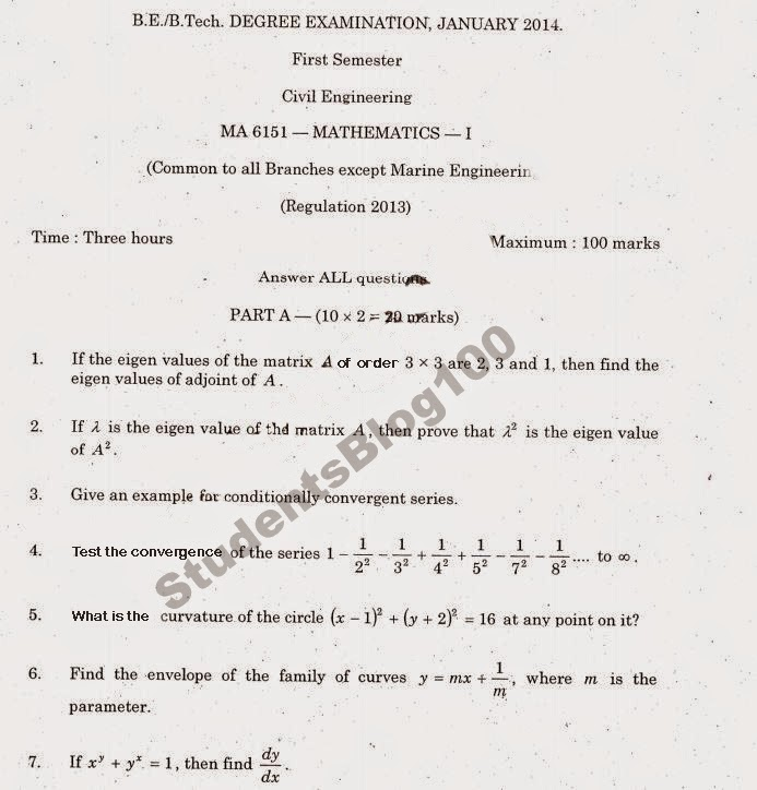MA6151 ANNA UNIVERSITY MATHEMATICS-1 JAN-2014 PREVIOUS YEAR QUESTION PAPER DOWNLOAD- REG 2013