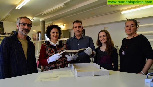 El Centro del Documento Gráfico del Cabildo restaura el Libro de Cuentas del Pósito de San Andrés
