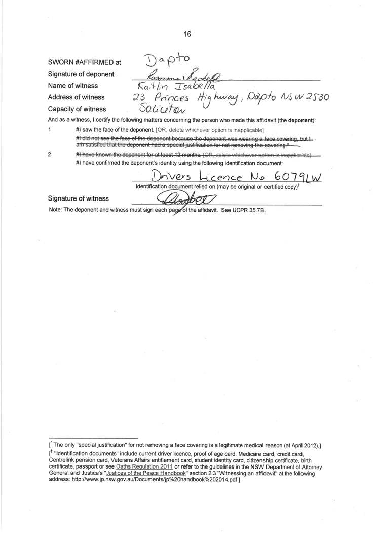 Sworn affidavit of Roseanne Beckett, 7 March 2018