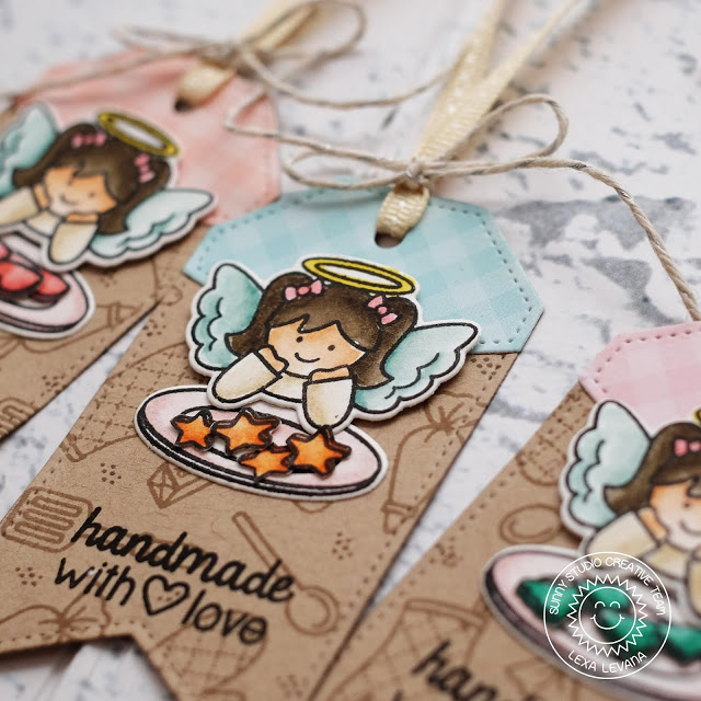 Sunny Studio Stamps: Build-A-Tag Blissful Baking Little Angels Handmade With Love Holiday Gift Tags by Lexa Levana