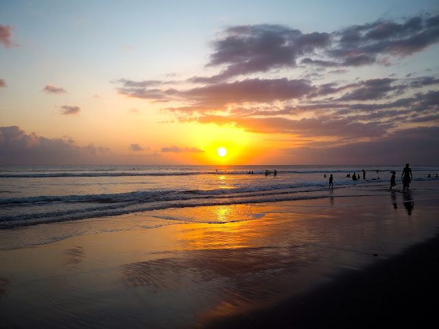 Sunset on Kuta beach, Bali, Indonesia