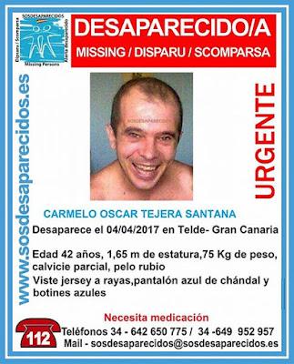 Carmelo Óscar Tejera Santana, desparecido en Telde Gran Canaria el 4 de abril, necesita medicación