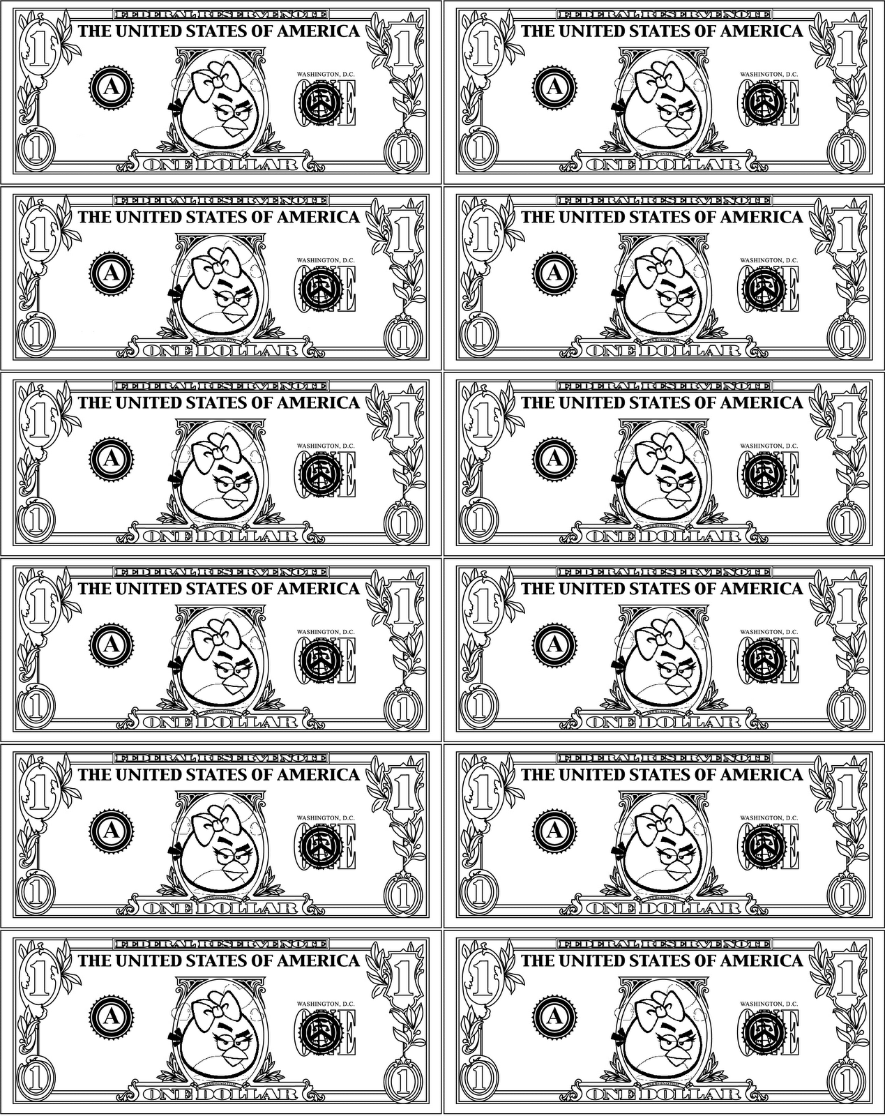 ANGRY BIRDS Play Money Dollar Bill Coloring Page RED Girl Bird ...
