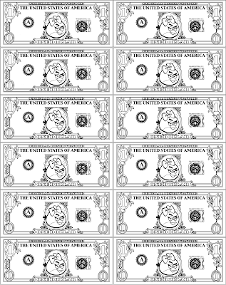 ANGRY BIRDS Play Money Dollar Bill Coloring Page RED Girl Bird Printable Party Favor Craft Pinata Filler